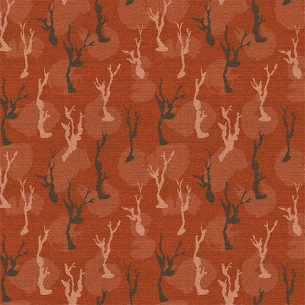 Lonely Trees Fabric Design (Burnt Red colorway)
