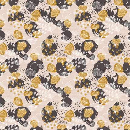 Ginkgo Leaves Fabric Design (Nude colorway)