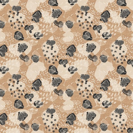 Ginkgo Leaves Fabric Design (Sand colorway)