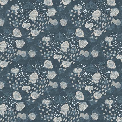 Ginkgo Leaves Fabric Design (Slate colorway)