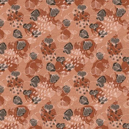 Ginkgo Leaves Fabric Design (Terracotta colorway)