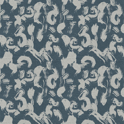 Calligraphy Paint Fabric Design (Slate colorway)