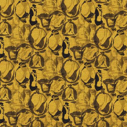 Artisan Vases Fabric Design (Golden colorway)