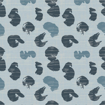 Calligraphy Water Fabric Design (Light Blue colorway)