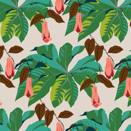 Tetrapanax Floral Fabric Design (Jungle Green colorway)