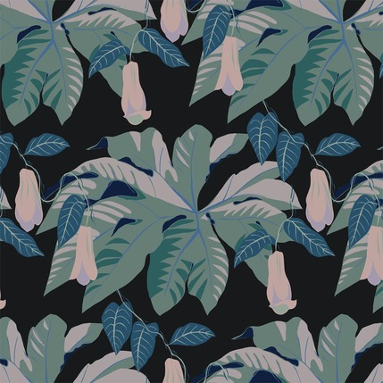 Tetrapanax Floral Fabric Design (Retro Blue) colorway)