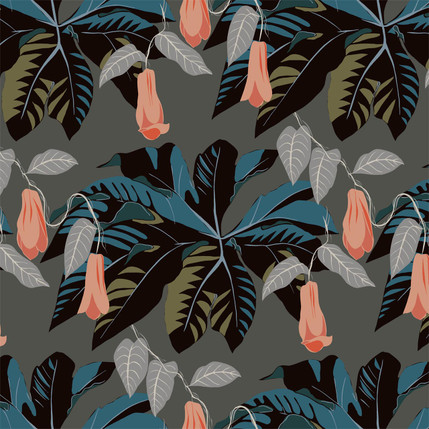 Tetrapanax Floral Fabric Design (River) colorway)