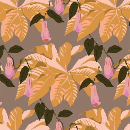 Tetrapanax Floral Fabric Design (Sahara) colorway)