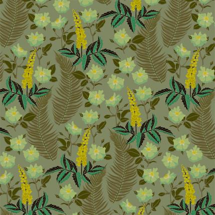 Oregon Mahonia Floral Fabric Design (Dappled Shade colorway)