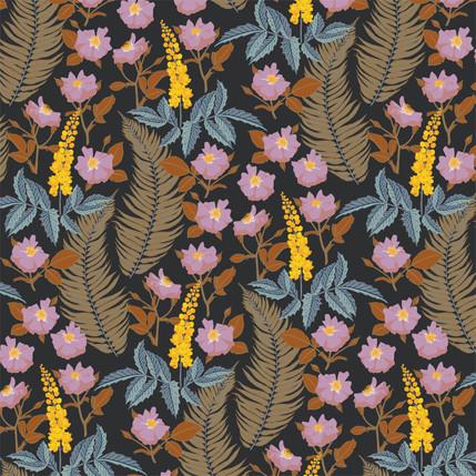 Oregon Mahonia Floral Fabric Design (Evening colorway)