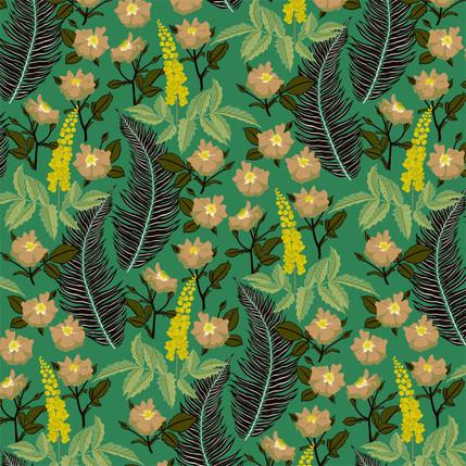 Oregon Mahonia Floral Fabric Design (Lawn colorway)