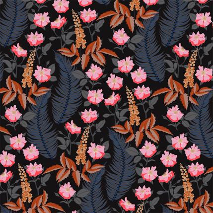 Oregon Mahonia Floral Fabric Design (Midnight colorway)