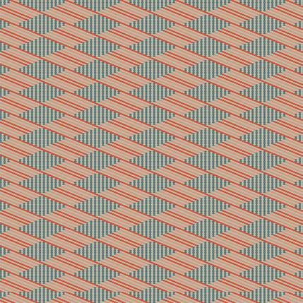 Flower Basket Stripe Fabric Design (Poppy - Teal Coral colorway)
