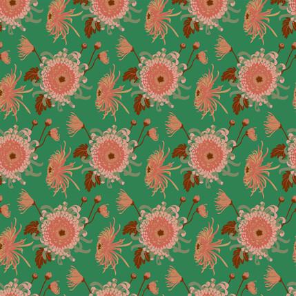 Chrysanthemum Floral Fabric Design (Chimichurri - Coral Greencolorway)