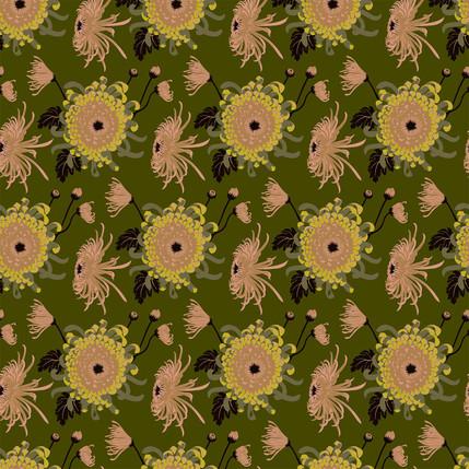 Chrysanthemum Floral Fabric Design (Fennel Pollen - Blush Olive Green colorway)