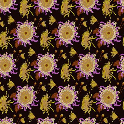 Chrysanthemum Floral Fabric Design (Fenugreek - Gold Lilac Black colorway)