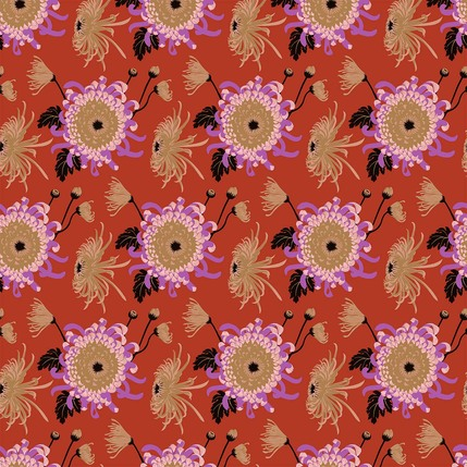 Chrysanthemum Floral Fabric Design (Gazpacho - Tan Lilac Coral Red colorway)