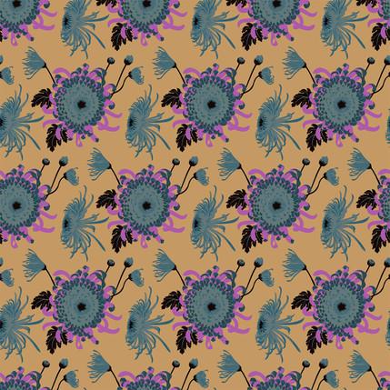 Chrysanthemum Floral Fabric Design (Peanut Sauce - Blue Lilac Tan colorway)