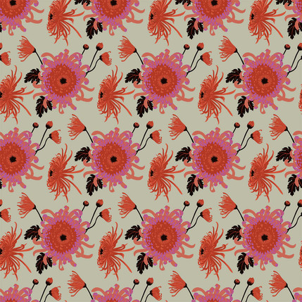 Chrysanthemum Floral Fabric Design (Pimento - Coral Red Tan colorway)