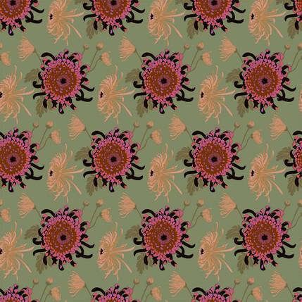Chrysanthemum Floral Fabric Design (Pistachio - Pink Tan Green colorway)