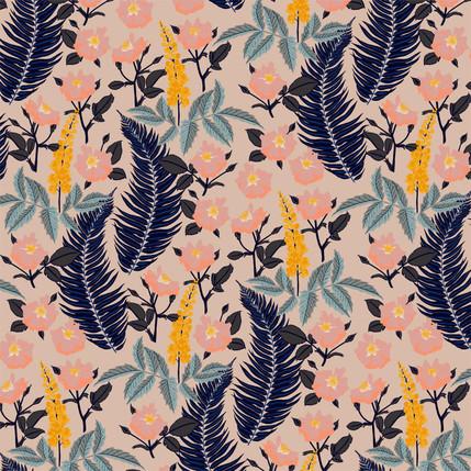 Oregon Mahonia Floral Fabric Design (Midday colorway)