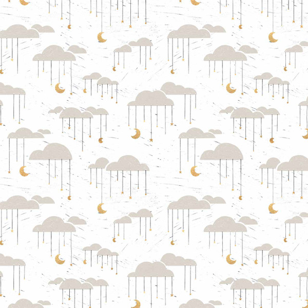 """Clouds - represents 27"""" of printed fabric (White)"""