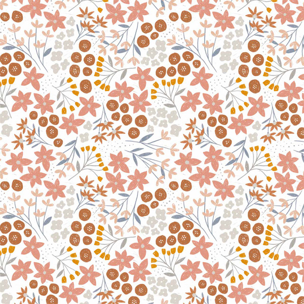 """Ariel Floral - image represents 27"""" of printed fabric (Pink)"""
