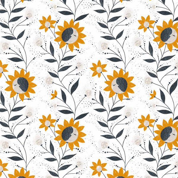 "Moon Flowers image represents 27"" of printed fabric (Orange)"