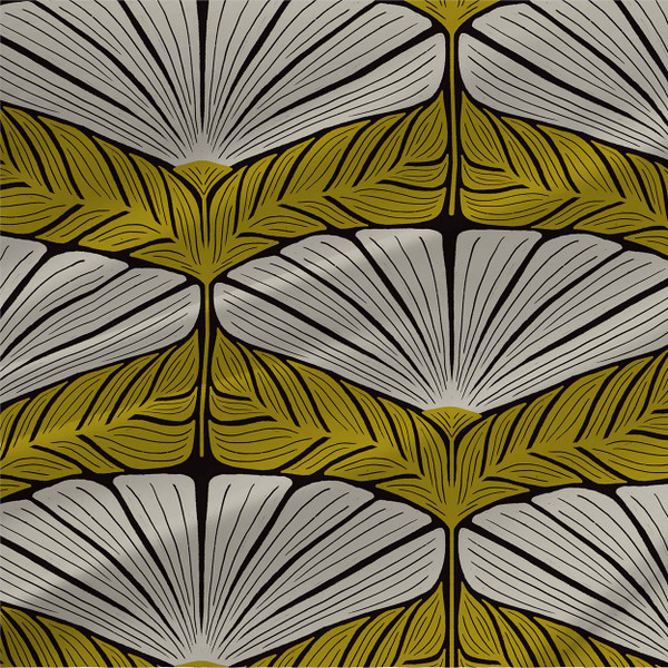 Dorothea abstract floral fabric in Green colorway