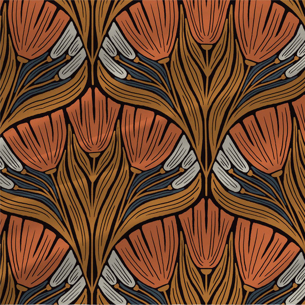 Genevieve abstract floral fabric in Orange colorway