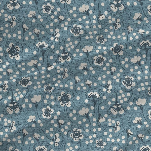 Sakura Blossoms Floral Fabric in Blue