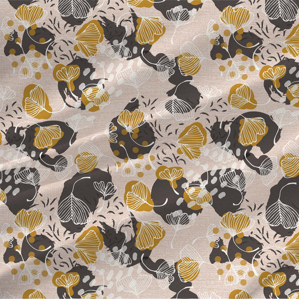 Ginkgo Leaves Fabric Design in Nude
