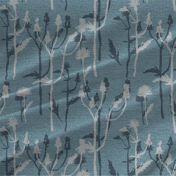 Wild Grass botanical fabric design by Ludmila Linhartova in Blue