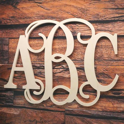 3 Letter Monogram Block Vine