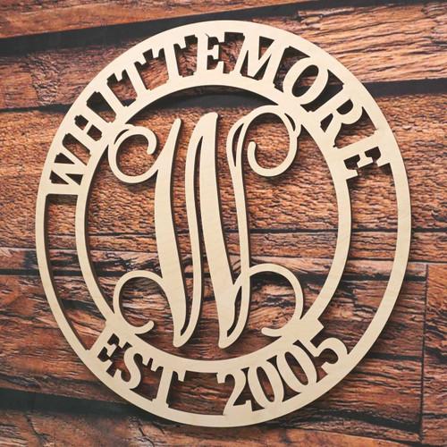 Circle Monogram Vine Name and Date