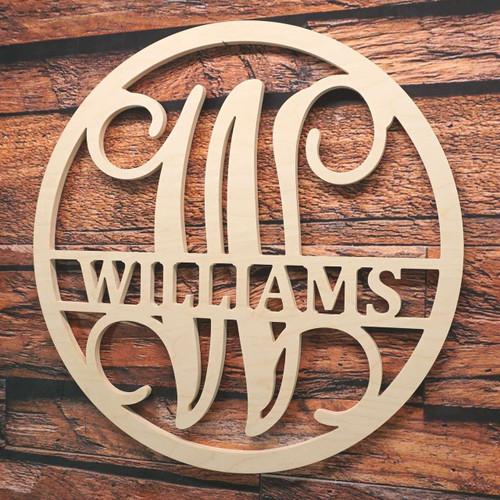 Circle Split Vine Monogram with Name