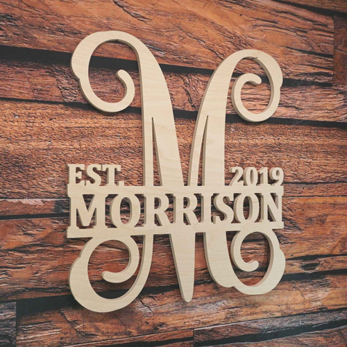 Split Vine Monogram with Name and Date