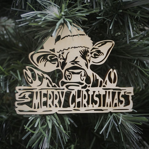 Merry Christmas Cow Ornament