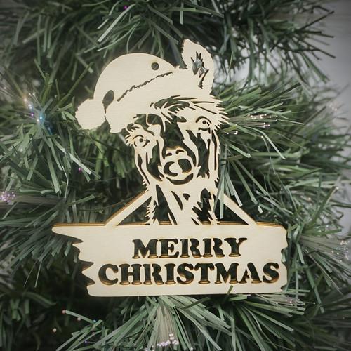 Merry Christmas Ornament Sign.Merry Christmas Llama Ornament