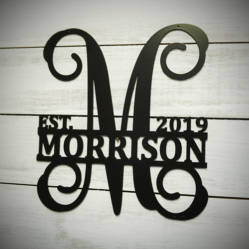 Metal Split Vine Monogram with Name and Date