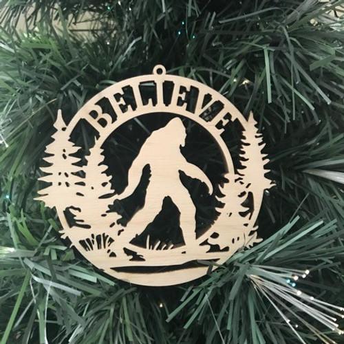 """Bigfoot """"Believe"""" ornament"""