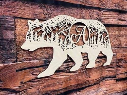 Starry Mountain bear Monogram