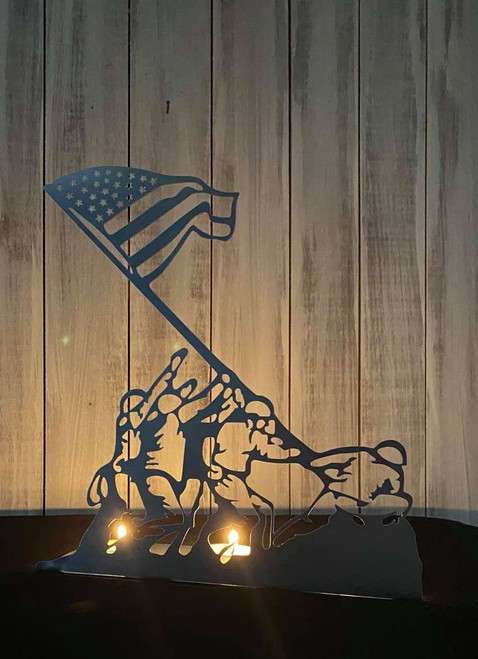 Military Iwo Jima Candle  Holder