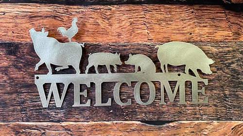 Pig Welcome sign