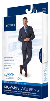 Sigvaris Men's Sea Island Cotton Socks 15-20 mmHg Closed Toe Knee Highs - 191C