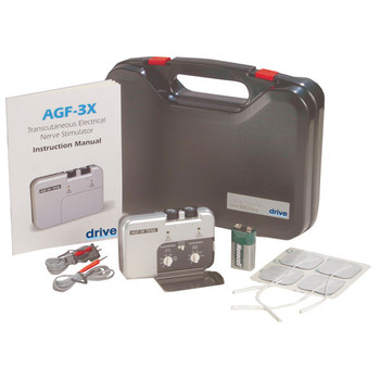 Portable Dual Channel TENS Unit with Electrodes and Carry Case - agf-3x