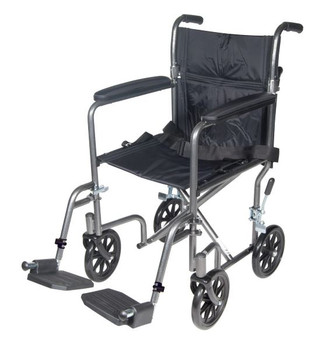 Lightweight Steel Transport Wheelchair with Fixed Full Arms - tr37e-sv