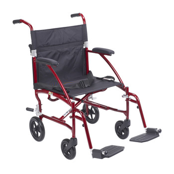 Fly Lite Ultra Lightweight Burgundy Transport Wheelchair - dfl19-rd