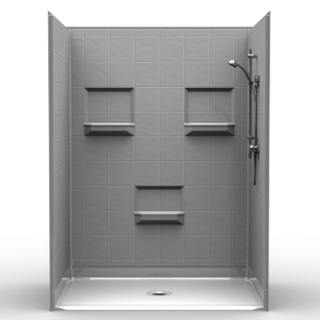 BestBath Barrier Free Shower PKG – Five piece 60×42 – 8 inch Tile Look