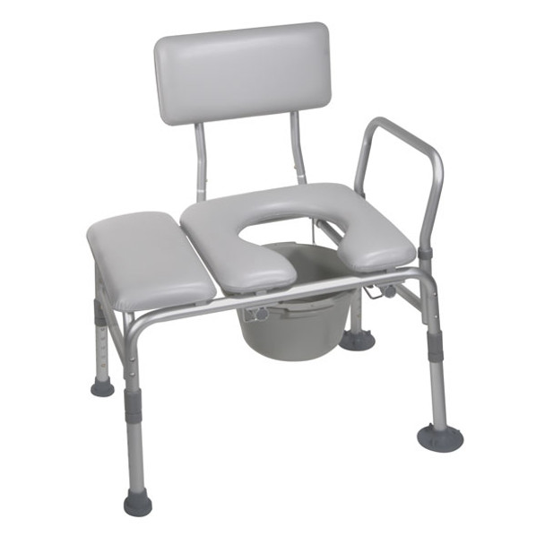 Padded Seat Transfer Bench with Commode Opening - 12005kdc-1